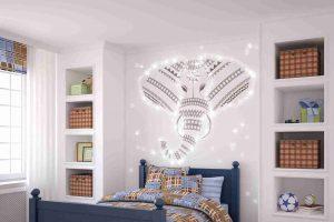 LED-Sternenhimmel Bausatz kaufen: Kinderzimmer mit PIXLUM-LED-Lichtdekoration hinter dem Bett