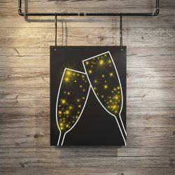 Eine PIXLUM LED Lichtdekoration, die zwei Champagnergläser darstellt