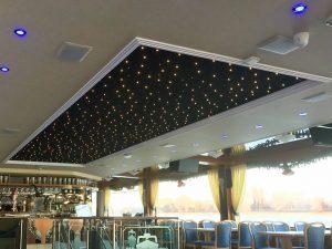 PIXLUM LED Sternenhimmel auf der MS RheinCargo vor der Montage der hinterleuchteten Spanndecken