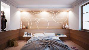 Schlafzimmer mit PIXLUM LED-Wanddekoration