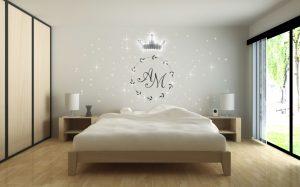 Ornamentales LED-Lichtdesign mit PIXLUM LEDs an einer Wand hinter dem Bett im Schlafzimmer