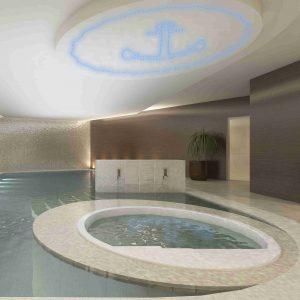 PIXLUM LED-Lichtdekoration über einem Whirlpool im Wellness-Bereich eines Hotels
