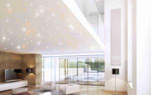 Wohnzimmer mit PIXLUM LED-Sternenhimmel